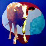 Koe in blauw ovaal