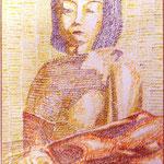 Série je suis une imprimante à aiguillle femme au mantean jaune encre sur papîer format raisin
