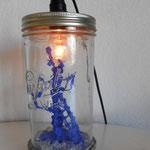 """série """"Souvenirs en pot"""" """"Le cerisier"""" béton, tessons de bouteilles, cintres, cuivre, lampe, bocal Parfait"""