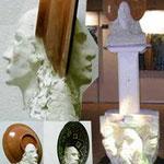 Nord-Sud : série Objets-Trouvés Objets-Cassés, béton teinté dans la masse plat en céramique socle bois plâtre
