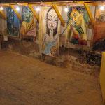 13 portraits de femme acrylique sur drap libre lampe filament