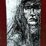 étude colonne  Portrait : dripping peinture vinylique sur papier format raisin