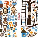 Wand-Sticker Bunte Tierwelt (Nr 3) Grösse 189 x 143cm Die Sticker sind einzeln abnehmbar, so kann das Bild nach den eigenen Wünschen gestaltet werden. Preis: Fr 24.-