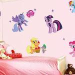Wand-Sticker my little Pony (Nr 8) Grössevom Bogen 70 x 50cm Grösse von Ponys ca 24cm hoch Die Sticker sind einzeln abnehmbar, so kann das Bild nach den eigenen Wünschen gestaltet werden. Preis: Fr 12.-