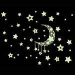 Wand-Sticker Mond und Sterne (Nr.7) Grösse 25 X 20cm Das Bild ist Nachleuchtend, das heisst wenn es mit Licht aufgeladen wurde, leuchten die Sterne und der Mond im Dunkeln. Die Sticker sind einzeln abnehmbar, so kann das Bild nach den eigenen Wünschen ges
