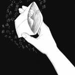 『老園の仔』久坂部羊著 KADOKAWA 小説野性時代 連載扉絵 2018 1月号