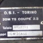 """""""O.S.I. - Torino"""" """"20M TS Coupé"""" (2.3 wie hier oder 2.0), so steht es auf dem Typenschild im Motorraum"""