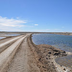 Die kilometerlange Strasse zur Lagune führte den Meersalzgewinnungsbecken entlang.