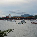 Bei unserem Übernachtungsplatz in Balboa befand sich die Ein- oder Ausfahrt des Panama-Kanals.