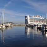 Der Hafen mit einem Riesending von einem Kreuzfahrtschiff.