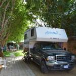 Unser Stellplatz für ganze 10 Tage in Santa María del Tule.