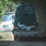 Bei der Rückfahrt wäre beinahe noch ein Lastwagen beim Ausweichmanöver abgestürzt.