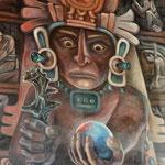 Chilam Balam schaut durch seine Kugel in die Zukunft und sagt voraus, dass die barbarischen Männer aus dem Osten kommen werden, um die Maya zu unterwerfen.