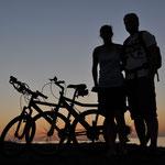 Unterwegs mit den geliehenen Fahrrädern.