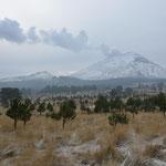Auch El Popo hat eine neue Schneedecke erhalten. Ein bisschen Schnee lag bereits vorher.