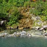 Hier ist es besonders heiss! Als Mutprobe galt es, einen Stein in der Nähe der Quelle abzulegen...