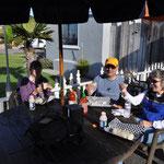 Amerikanisches Zmorge: Burrito mit Ei, Kartoffeln, Bohnen, Speck und anderen leckeren Sachen. Das Zmittag wäre somit auch gleich abgehakt...
