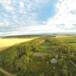 Luftaufnahme von Conny's Grundstück.