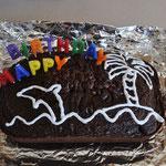 Claudio's selbst gemachter Geburtstagskuchen für Angi - super schön und fein! Danke!
