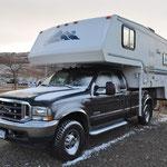 Erster Schnee auf unserem Truck-Camper.
