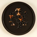 """6:26:31      13"""" diameter x 2""""  Gemini Lacquer painted wood, Breathing Color Timeless varnished Epson UltraGiclée prints and binder clips"""