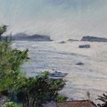Blick über die Bucht Pastell 30 x 45