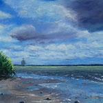 Elbe bei Hetlingen, Pastell 40 x 60