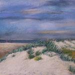 Dünen vom Steg zur Arche  Noah gemalt, Pastell 30 x 40