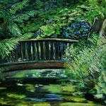 Brücke im Haseldorfer Schloßpark 40 x 50 Pastell