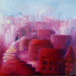 die rote Stadt  80 x 80 Öl