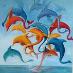 Dancing dolphins 80 x 80 Öl