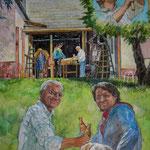 Vater und Sohn (2010) - Leimfarbe auf Leinwand - 50 x 60 cm - [in privater Sammlung]
