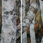 Birkenhain (2012) - Leim auf Leinwand - 120 x 40 cm -  [in privater Sammlung]
