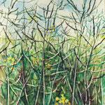 Rapsfeld - tief (2011) - Leim auf Leinwand - 40 x 40 cm - [in privater Sammlung]