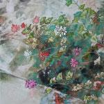 Geranie (2013) - Leim auf Leinwand - 50 x 50 cm - [in privater Sammlung]
