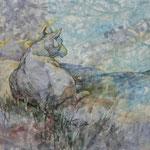 Ende des Tages (2013) - Leim auf Leinwand - 40 x 30 cm - [in privater Sammlung]