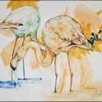 Rosa Flamingo (2013) - Leim auf Leinwand - 40 x 30 cm