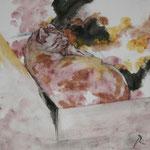 Katze (2013) - Leim auf Leinwand - 30 x 30 cm - [in privater Sammlung]
