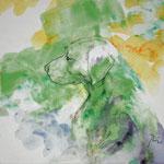 Hund (2013)  - Leim auf Leinwand - 30 x 30 cm - [in privater Sammlung]