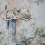 Alleine (2013) - Leim auf Leinwand - 40 x 40 cm -  [in privater Sammlung]