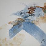 Spatz (2013) - Leim auf Leinwand - 30 x 30 cm