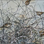Winterliche Gesellschaft (2013) - Leim/Silber auf Leinwand - 120 x 40 cm (2-teilig) - [in privater Sammlung]