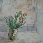 Am Stadtfenster (2012) - Leim auf Leinwand - 50 x 50 cm -  [in privater Sammlung]
