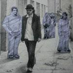 """Zeichnung """"Stara Bas 1"""" (2005)  - Bleistift auf Papier - 50 x 50 cm (verwendet für das Album """"Verlierer"""") - [in privater Sammlung]"""