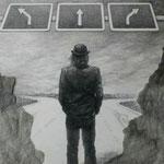 """Zeichnung """"Stara Bas 2"""" (2005) - Bleistift auf Papier -  50 x 50 cm (verwendet für das Album """"Verlierer"""") - [in privater Sammlung]"""