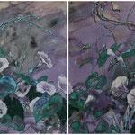 Morgen am Zaun (2012) - Leim auf Leinwand - 40 x 120 cm -  [in privater Sammlung]