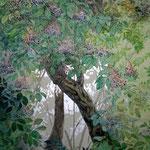 Hollunderbaum (2009) - Leimfarbe auf japanischem Paravent - 120 x 160 cm
