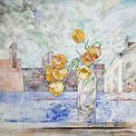 Blumenaltar (2013) - Leim auf Leinwand - 100 x 50 cm (2-teilig) - [in privater Sammlung]