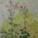 Elfenschuh und Regen (2010) - Leim auf Leinwand - 50 x 60 cm
