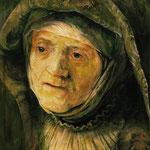 """Replik """"Mutter"""" von Rembrandt (2008) - Mischtechnik auf Papier - 40 x 50 cm - [in privater Sammlung]"""